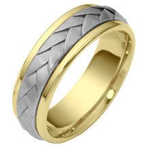 Wave Style 7mm Two-Tone 14 Karat Gold Comfort Fit Wedding Band Ring
