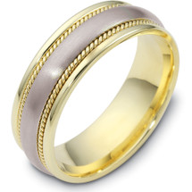 Rope Style 14 Karat Two-Tone Gold 7mm Comfort Fit Wedding Band Ring