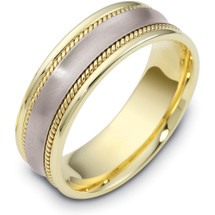 7mm Rope Style 14 Karat Two-Tone Gold Comfort Fit Wedding Band Ring