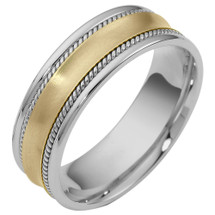 Rope Style 7mm 14 Karat Two-Tone Gold Comfort Fit Wedding Band Ring