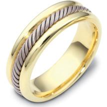 Two-Tone 6.5mm 14 Karat Gold Comfort Fit Wedding Band Ring