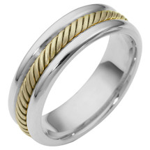 6.5mm Two-Tone 14 Karat Gold Comfort Fit Wedding Band Ring