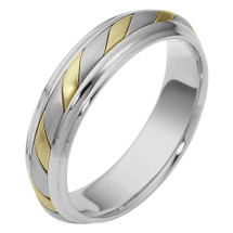 5.5mm 14 Karat Two-Tone Gold Comfort Fit Wedding Band Ring