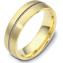 6.5mm Wide Designer Woven Style 14 Karat Two-Tone Gold Wedding Band Ring