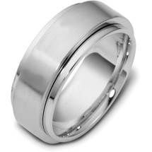 14 Karat 9mm White Gold Designer SPINNING Wedding Band Ring