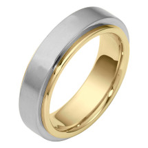 6mm 14 Karat Two-Tone Gold Designer SPINNING Wedding Band Ring