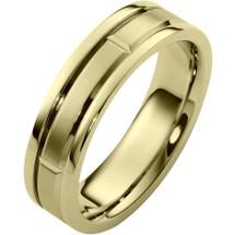 6mm Contemporary 14 Karat Yellow Gold Wedding Band Ring