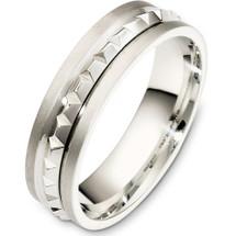 14 Karat 6mm White Gold Multi Texture Wedding Band Ring