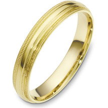 4mm Multi Texture 14 Karat Yellow Gold Wedding Band Ring