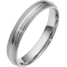 14 Karat White Gold 4mm Multi-Texture Wedding Band Ring