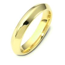 4mm Wide 14 Karat Yellow Gold Knife Edge Style Comfort Fit Wedding Band Ring