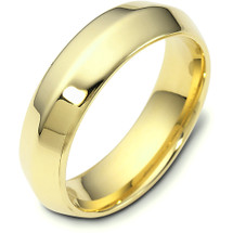 6mm Wide 14 Karat Yellow Gold Knife Edge Style Comfort Fit Wedding Band Ring