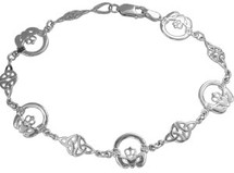 Genuine Sterling Silver Claddagh & Celtic Knot Bracelet