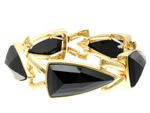 Black Lucite Bead Spear Shape Stretch Bracelet