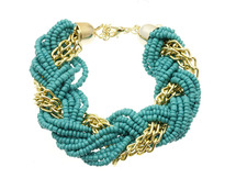 Turquoise Micro Bead Link Braid Fashion Bracelet