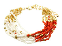Coral & White Micro Bead Link Bracelet