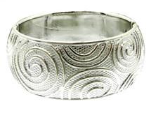 Silver Tone Swirl Hinge Bangle Bracelet
