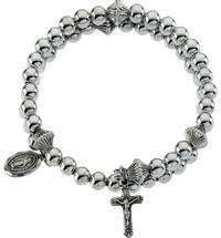 Genuine Sterling Silver Bead Wrap Rosary Bracelet