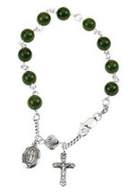 Genuine Sterling Silver Dark China Jade Rosary Bracelet