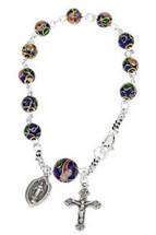 Genuine Sterling Silver Cobalt Cloisonne Rosary Bracelet