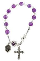 Genuine Sterling Silver Amethyst Rosary Bracelet