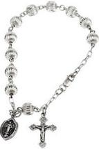 Genuine Sterling Silver Round Fluted Rosary Bracelet