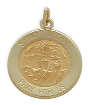 14 Karat Yellow Gold St. Michael Baby Medallion