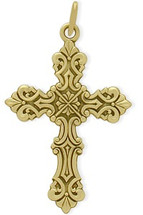 14 Karat Yellow Gold Detailed Baby Cross
