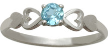 10 Karat White Gold CHOOSE YOUR GEMSTONE  Round Shape Baby Ring