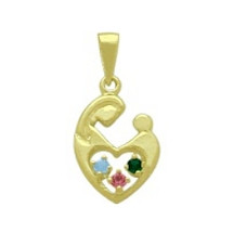 10 Karat Yellow Gold 3 Stone CHOOSE YOUR GEMSTONE Family Pendant