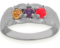 3 Stone White Gold Family Ring