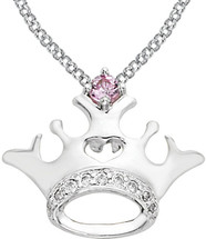 Disney® Crown Diamond & Pink Sapphire Necklace