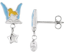 Disney® Tinkerbell Enamel Silver Earrings
