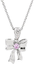 Disney® Bow Diamond & Light Pink Sapphire Pendant