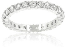 Ladies Rhodium Plated 3mm Eternity Ring