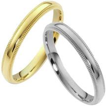 Traditional 4mm Comfort Fit Milgrain Wedding Band