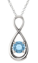 Genuine Sterling Silver CHOOSE YOUR STONE Gemstone Infinity Pendant