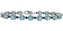Genuine Sterling Silver Blue Topaz and Sapphire Bracelet