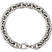 Stainless Steel 28 Inch Diamond Cut Oval Rolo Chain
