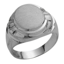 Men's Designer Oval 10 Karat White Gold Ring