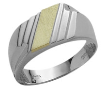 Men's 10 Karat Two-Tone Stylish Gold Ring