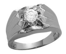 Men's 10 Karat White Gold & Cubic Zirconia Ring