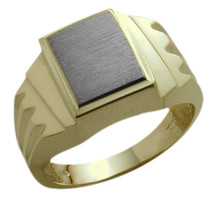 Stylish Men's 10 Karat Two-Tone Gold Ring