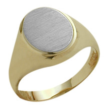 Men's Classy Oval 10 Karat Two-Tone Gold Ring