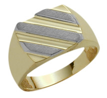 Men's Designer 10 Karat Two-Tone Gold Ring