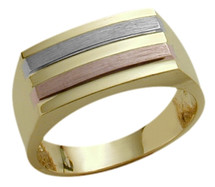 Men's 10 Karat Designer Tri-Color Gold Ring