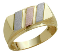 Men's Designer 10 Karat Tri-Color Gold Ring