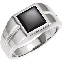 Men's Genuine Sterling Silver Square Onyx Ring