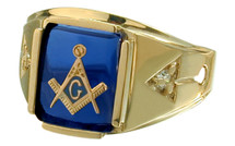 Men's Cushion Cut Star Sapphire and 10K Yellow Gold Masonic Ring