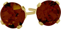 1.10Ct. Genuine 5mm Round Garnet 14 Karat Yellow Gold Stud Earrings